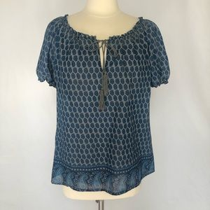 Joie Blue/Gray Boho Peasant Pullover Blouse Size M